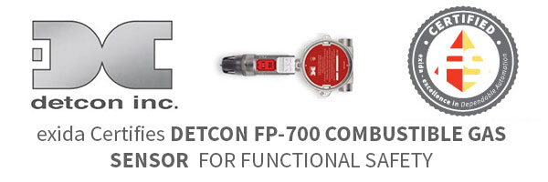 EXIDA CERTIFIES DETCON FP-700 COMBUSTIBLE GAS SENSOR FOR FUNCTIONAL SAFETY